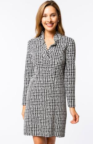 Tyler Böe Constance Ruffle Collar Dress - Etched Houndstooth Black/White