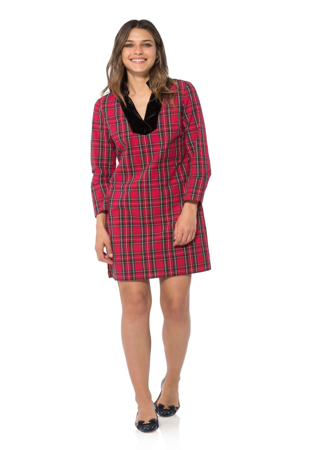 Sail To Sable Stretch Cotton Plaid Tunic Dress - Red Plaid