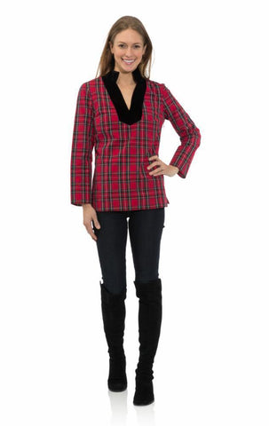 Sail To Sable Stretch Cotton Plaid Tunic Top - Red Plaid