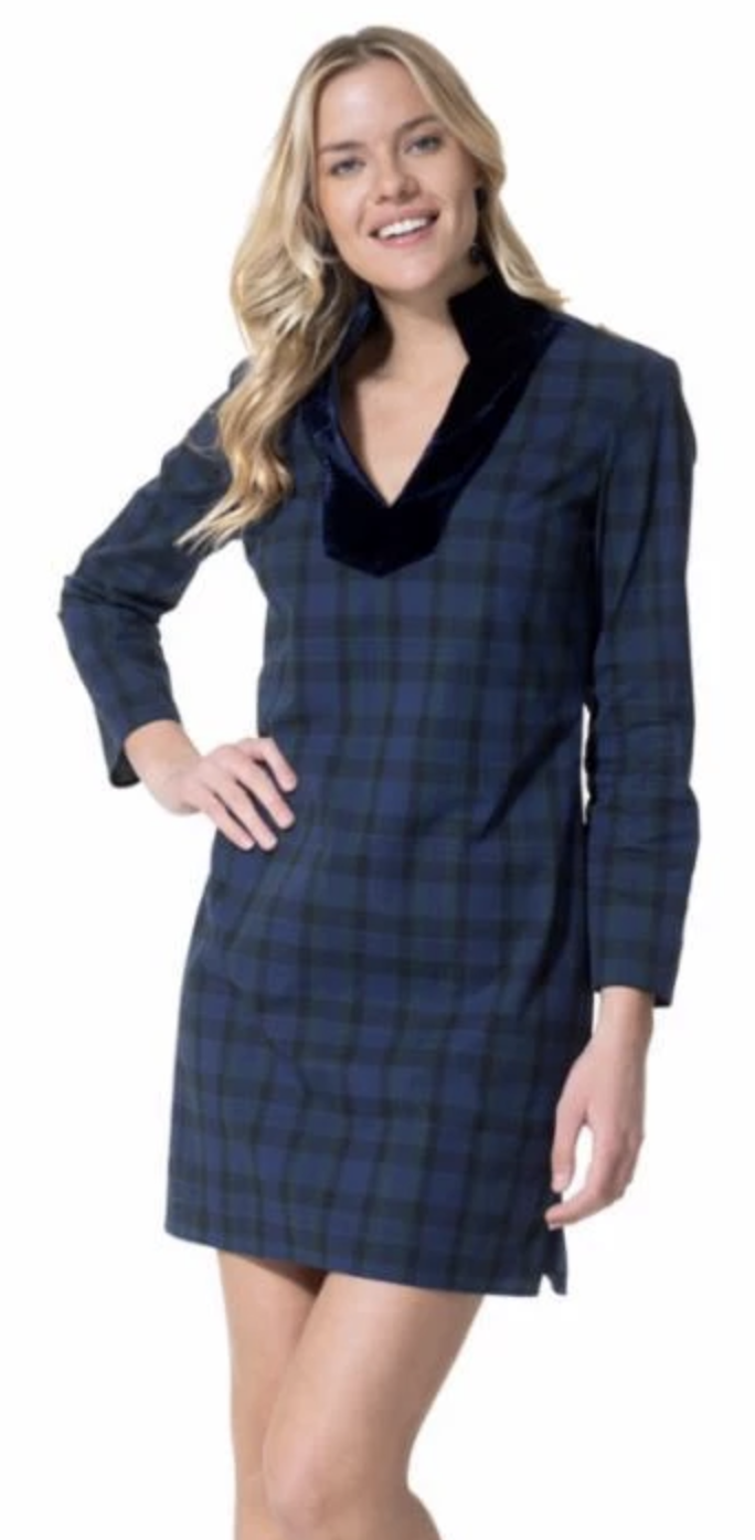 Sail To Sable Stretch Cotton Plaid Tunic Dress - Navy Plaid