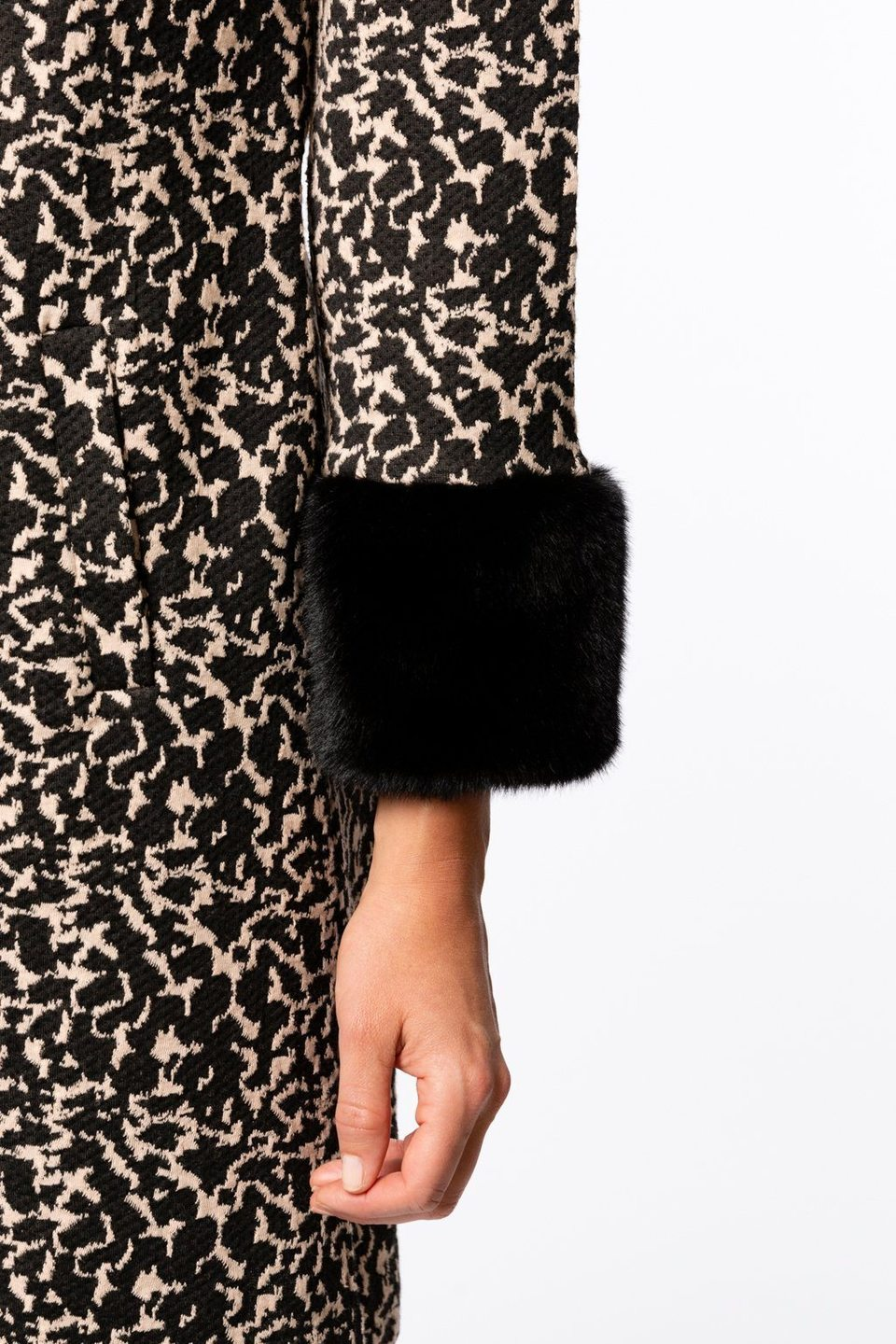 Tyler Böe Fur Trimmed Chelsey Dress - Abstract Black/Blush