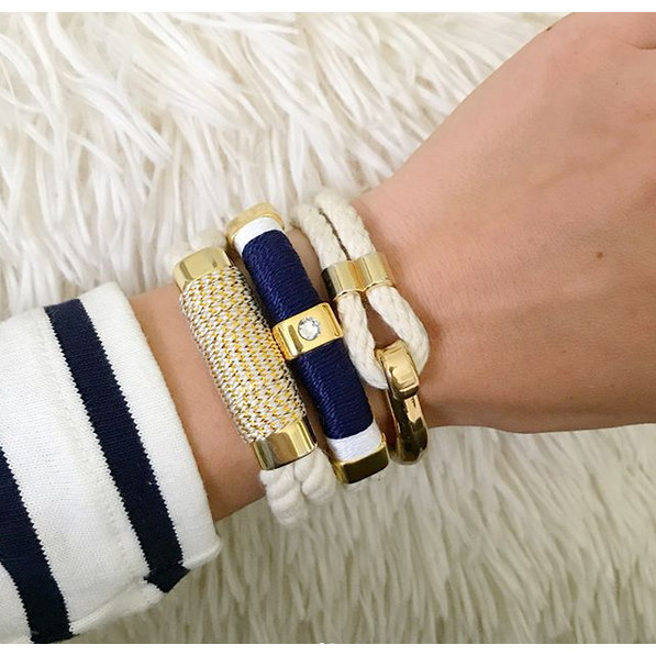 AC Kingston Bracelet - Ivory/Navy/White/Gold