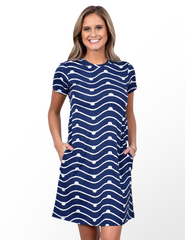 Southwind Apparel Hobe Tee Dress - Navy Knotty