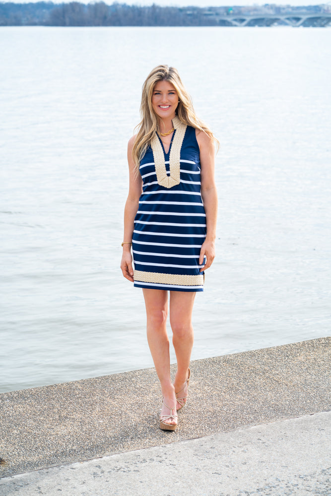 Sail To Sable Sleeveless Classic Knit Tunic - Navy/White Stripe