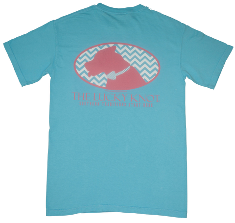 Lucky Knot DPC Shirt -Turquoise & Pink by Dixie Peaches Couture from THE LUCKY KNOT - 1