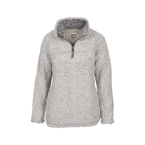 Dylan by True Grit Solid Frosty Tipped Stadium Pullover - Oatmeal