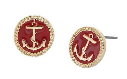 Anchor Earring - Red by Jewelry from THE LUCKY KNOT - 1