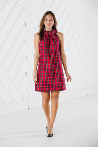 Sail To Sable Red Plaid Cowl Neck Dress
