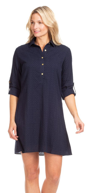 Duffield Lane Keys Dress - Navy Swiss Dot