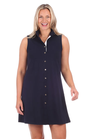 Duffield Lane Kerry Dress - Solid Navy w/White