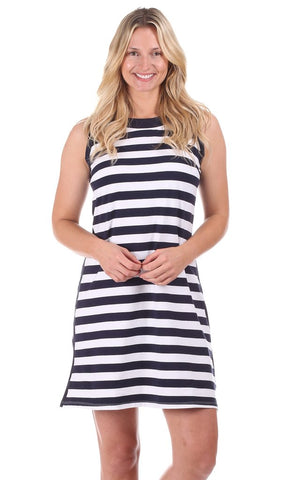 Duffield Lane Claire Shift Dress - Navy/White Stripe