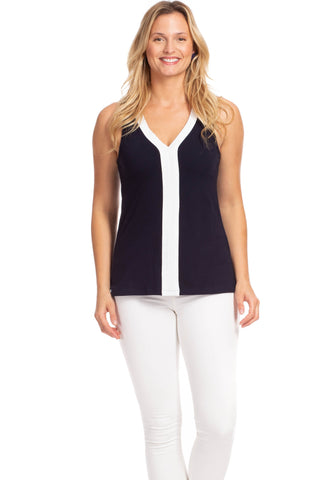 Duffield Lane Haven V-Neck Top - Navy w/ White