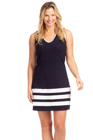 Duffield Lane Fisher Dress - Navy/White