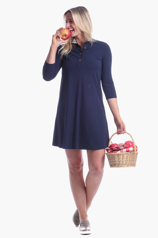 Duffield Lane Kingsley Dress - Solid Navy/Herringbone
