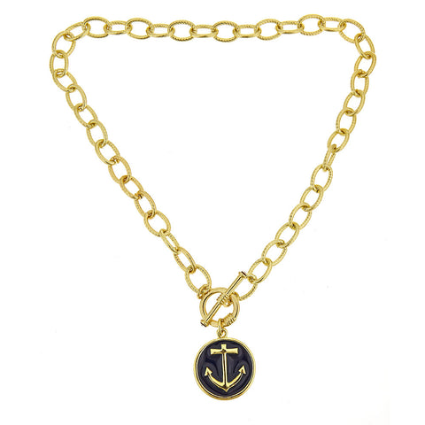 Anchor Necklace - Navy