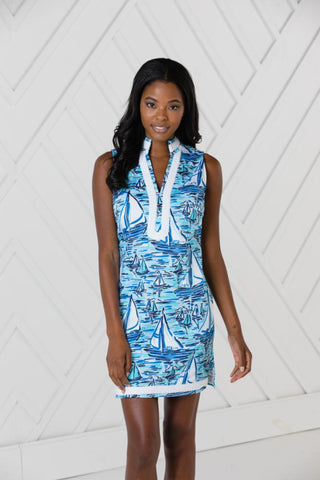 Sail To Sable Boat Print Sleeveless Classic Tunic Dress - Blue