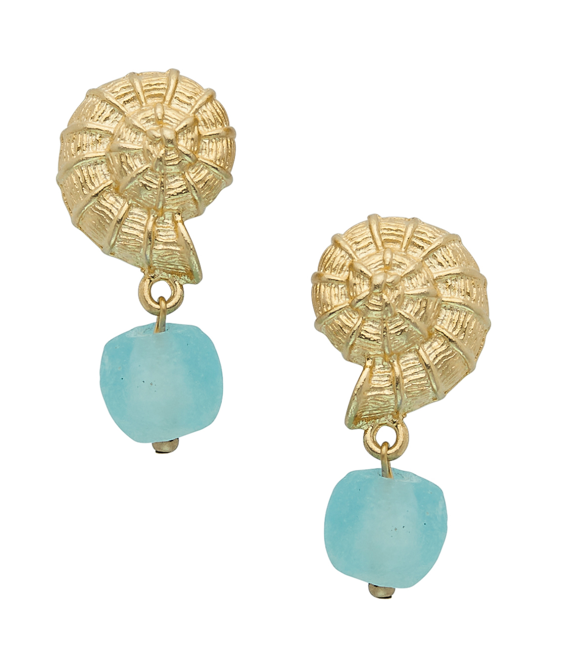 Susan Shaw Gold Shell and Aqua Recycled Glass Earrings