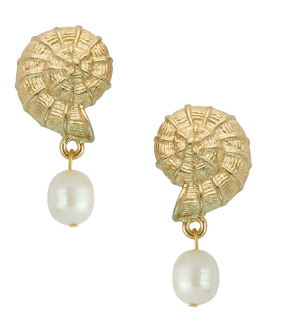 Susan Shaw Gold Shell Pearl Earrings