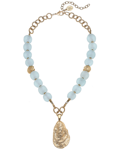 Susan Shaw Oyster Sea Glass Necklace