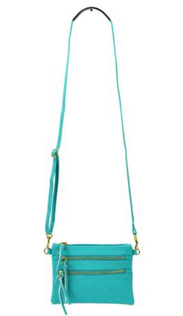 Triple-Zip Crossbody - Aqua by Jewelry from THE LUCKY KNOT - 2