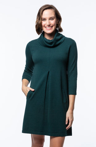 Tyler Böe Kim Cowl Dress - Pine Cotton Cashmere