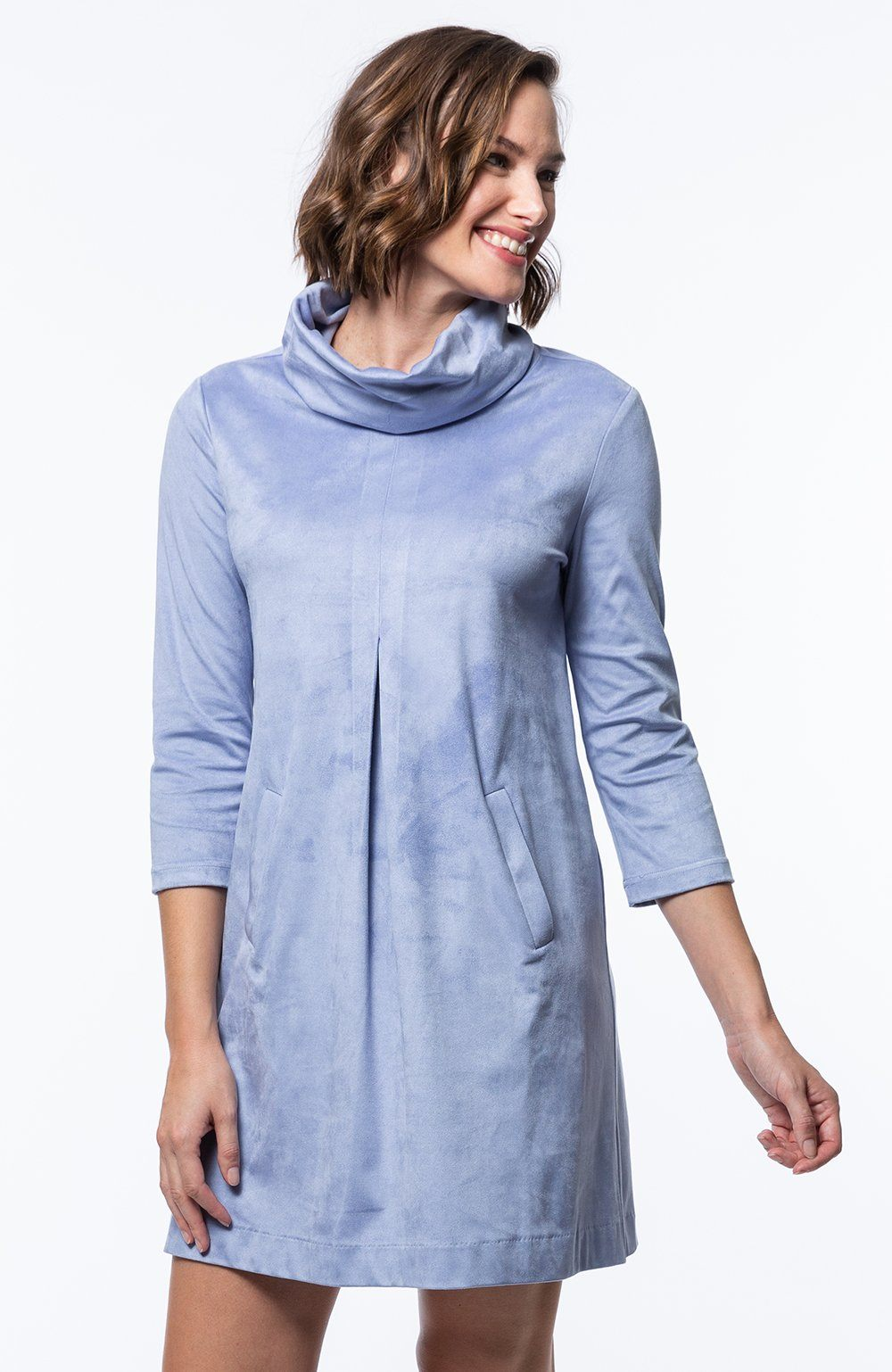 Tyler Böe Kim Cowl Dress - Sky Faux Suede
