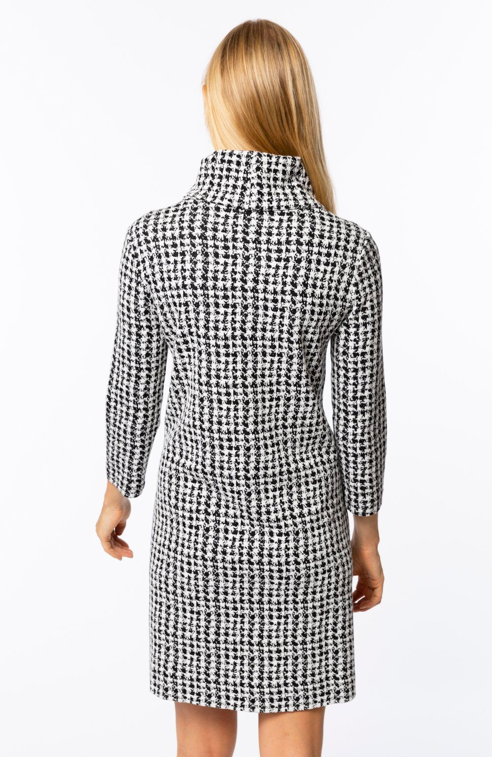 Tyler Böe Kim Cowl Dress - Etched Houndstooth Black/White