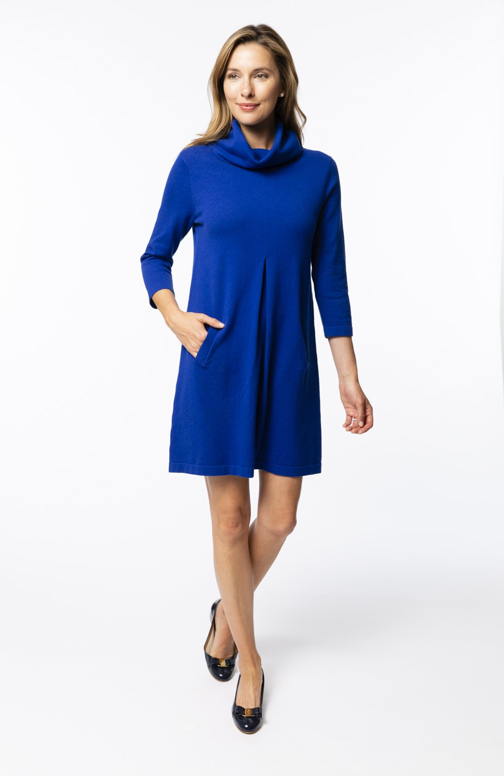 Tyler Böe Kim Cowl Dress - Lapis Cotton Cashmere