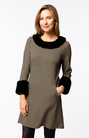 Tyler Böe Fur Trimmed Chelsey Dress - Small Houndstooth Beige/Black