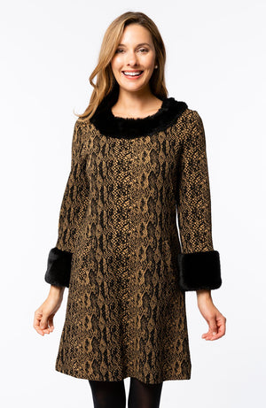 Tyler Böe Fur Trimmed Chelsey Dress  - Snakeskin Black/Tobacco