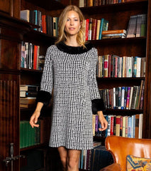 Tyler Böe Fur Trimmed Chelsey Dress - Etched Houndstooth Black/White