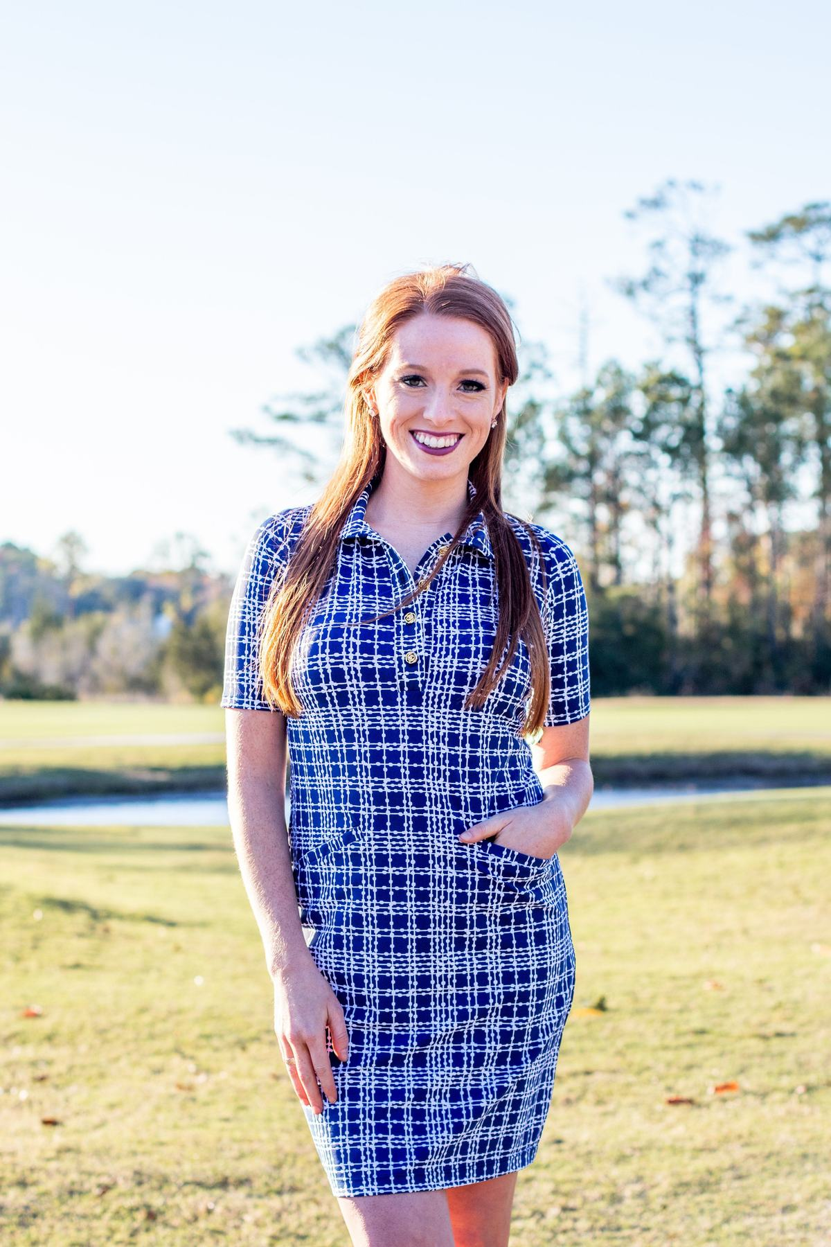 Katherine Way Austin Dress - Plaid Dots Navy