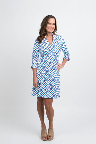 Katherine Way Coco Dress - Bamboo Fence Royal