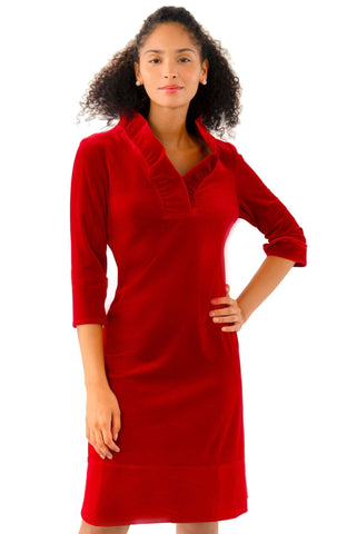 Gretchen Scott Ruff Neck Dress - Silky Velvet - Red