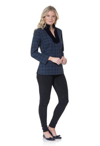 Sail To Sable Stretch Cotton Plaid Tunic Top - Navy Plaid