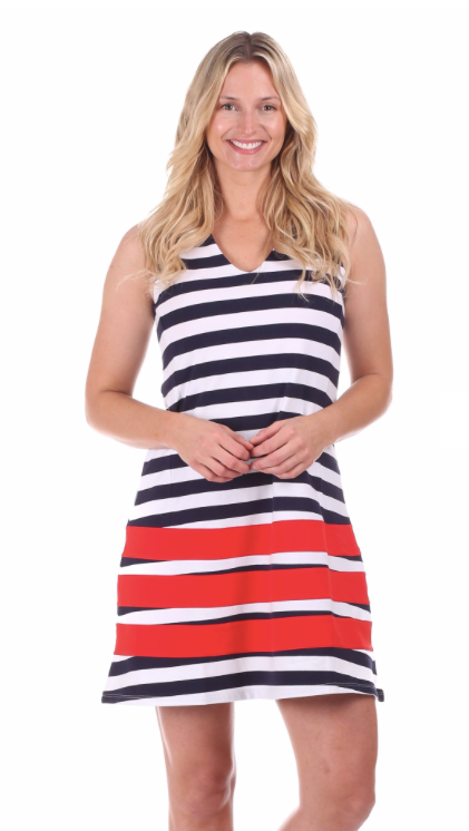 Duffield Lane Waverly Dress - Navy/White Stripe w/ Red