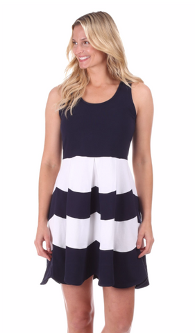 Duffield Lane Scalloped Ludington Dress - Navy/White