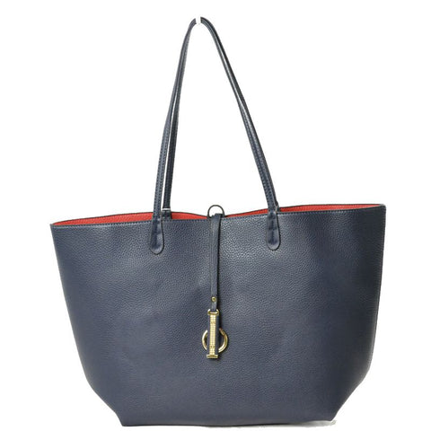 Vegan Leather Reversible 2-in-1 Tote Bag - Navy/Red