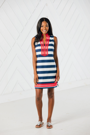 Sail to Sable Sleeveless Classic Tunic Dress - Navy/White Stripe w/ Red