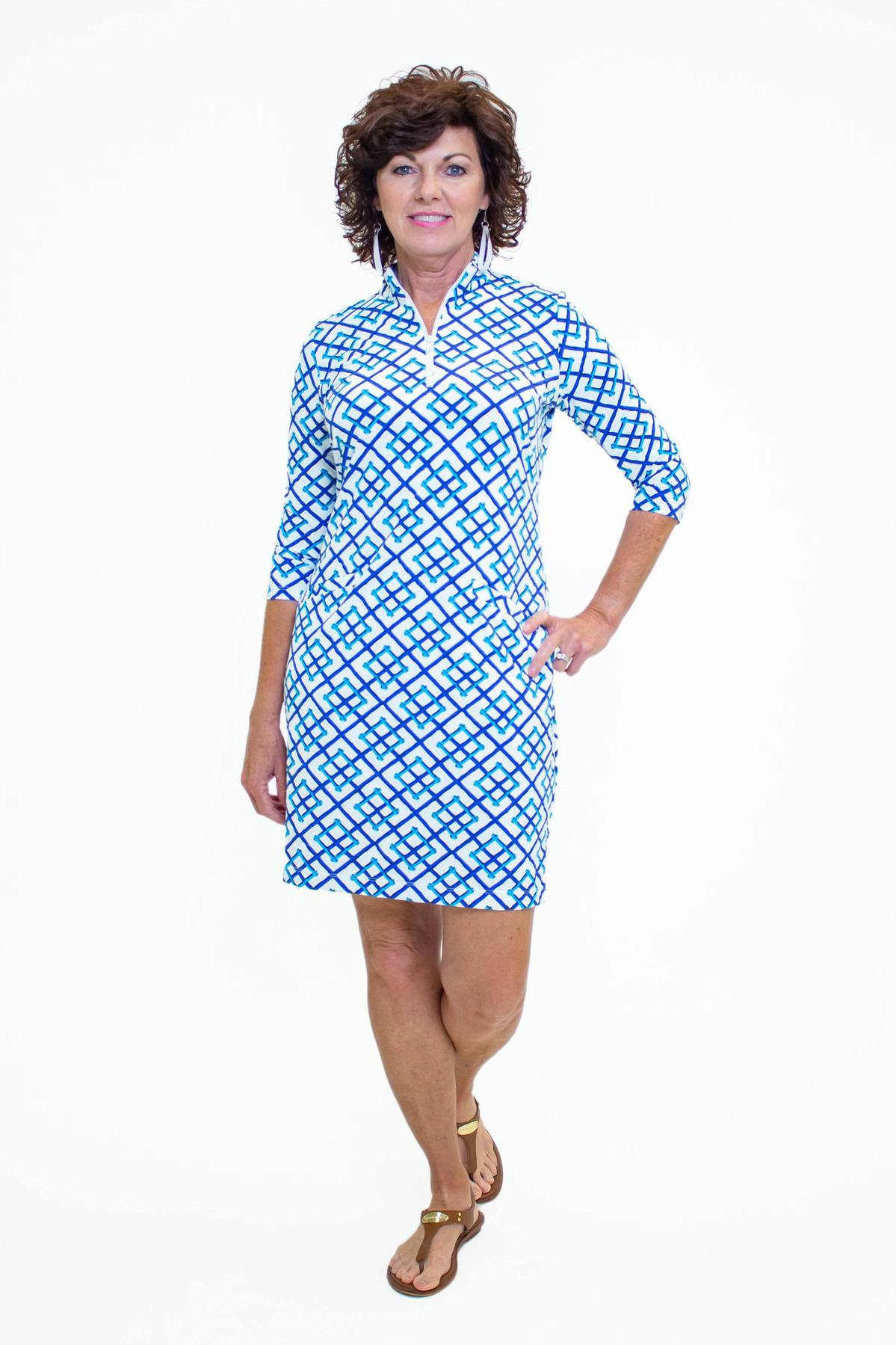 Katherine Way Doral Dress - Bamboo Fence Royal