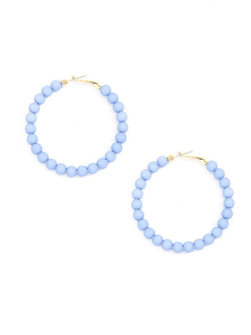 Matte Beaded Hoop Earring - Light Blue