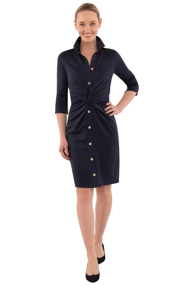 Gretchen Scott Twist And Shout Dress - Solid- Navy