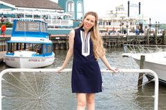 Duffield Lane Mackinac Dress - Solid Navy w/ White - Lucky Knot Exclusive