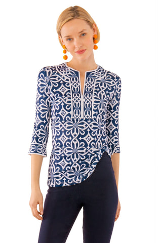 Gretchen Scott Split Neck Jersey Tunic - Piazza - Navy
