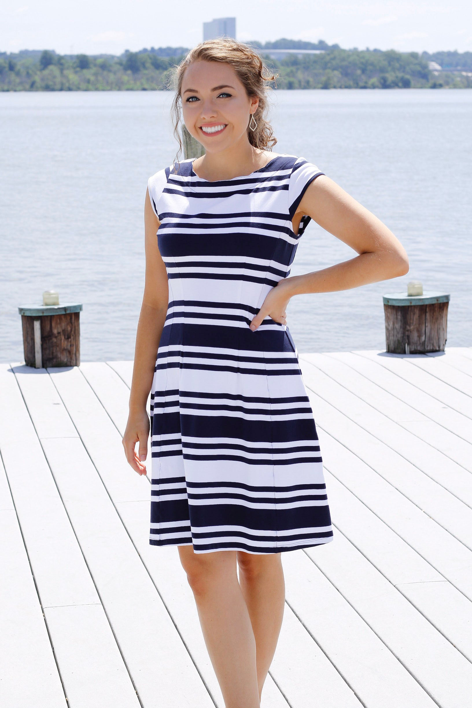 Duffield Lane Hackley Dress - Navy/White Stripe