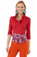 Gretchen Scott Ruff Neck Jersey Top - Solid Crimson
