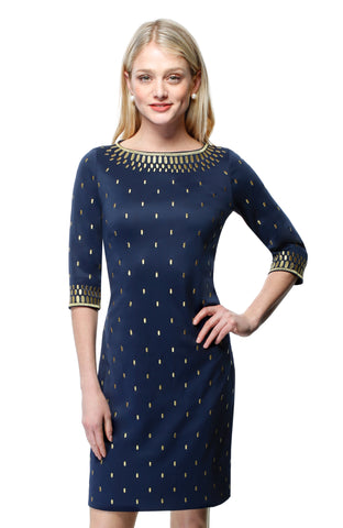 Gretchen Scott Rocket Girl Dress - Navy/Gold