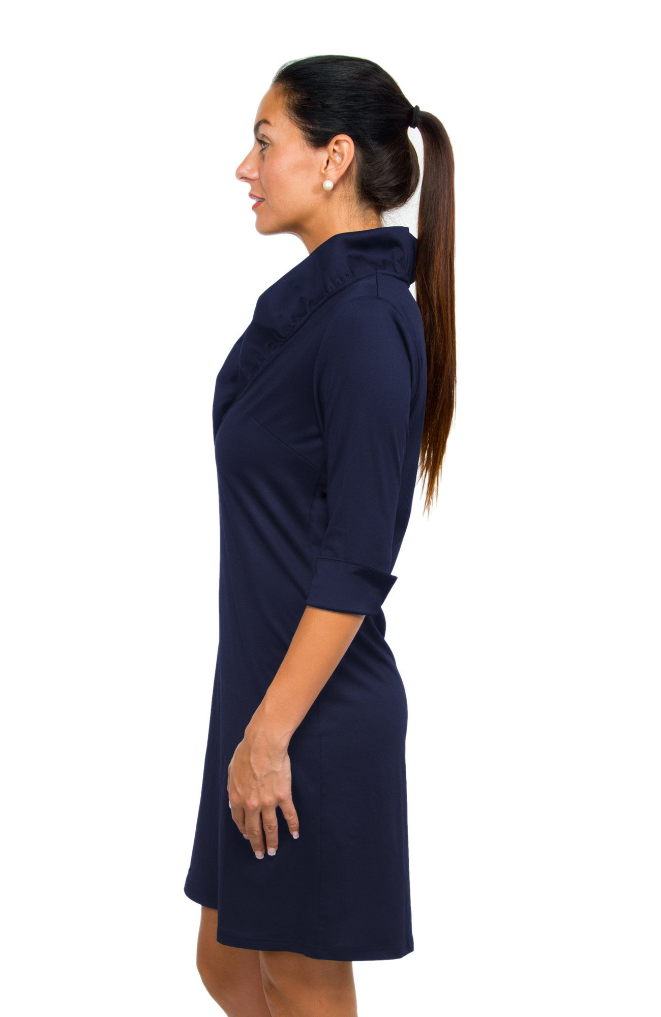 Gretchen Scott Ruff Neck Jersey Dress - Solid Navy by Gretchen Scott from THE LUCKY KNOT - 2