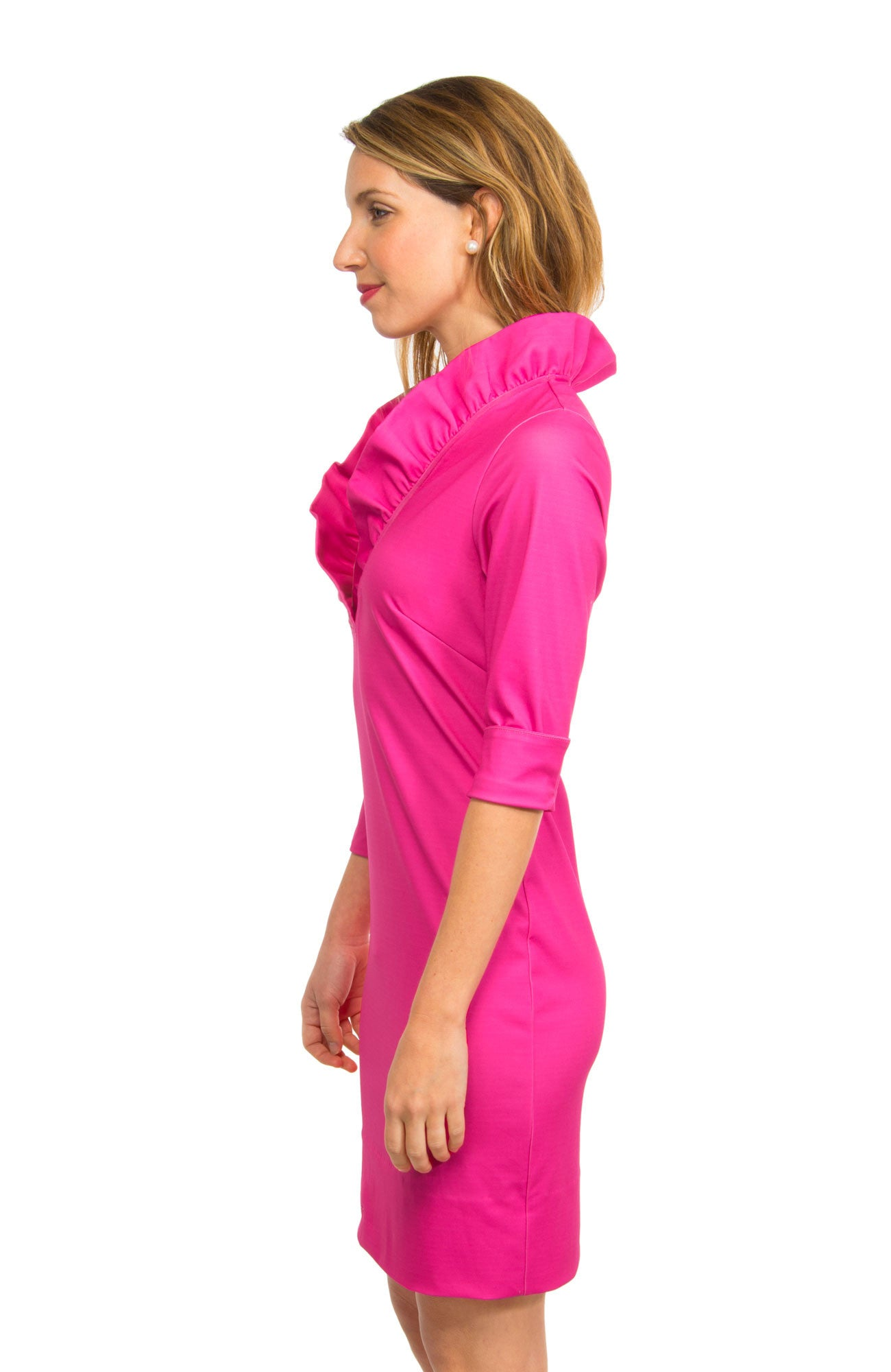 Gretchen Scott Ruff Neck Jersey Dress - Solid Pink by Gretchen Scott from THE LUCKY KNOT - 3