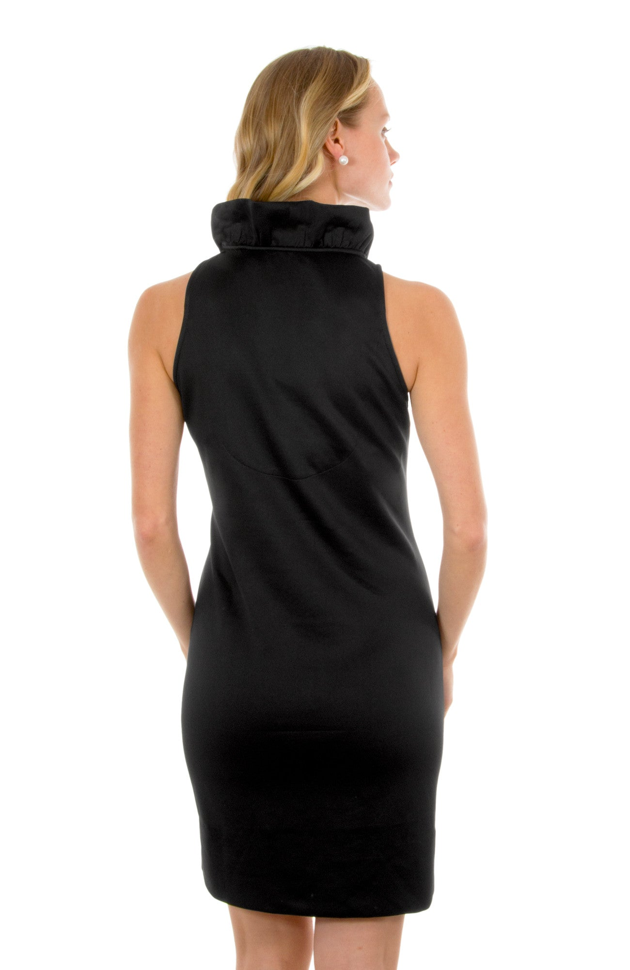 Gretchen Scott Ruff Neck Sleeveless Jersey Dress - Solid Black